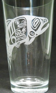 Totem Salmon by Holly Wiley on 16 oz. glass