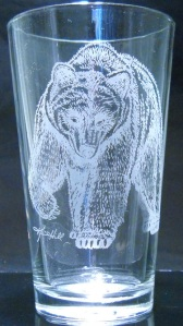 Grizzly by Karrie Hill on 16 oz. glass