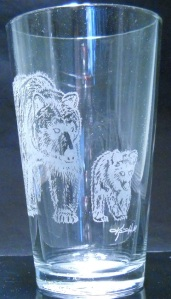Grizzly Mama & Cub by Karrie Hill on 16 oz. glass