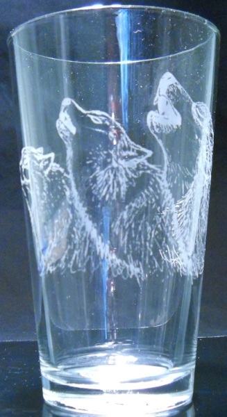 Howling Wolves by Karrie Hill on 16 oz. glass