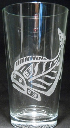 Totem Halibut by Holly Wiley on 16 oz. glass