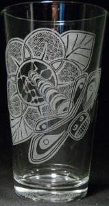 Totemic Dragonfly by Kristin Koiv on 16 oz. glass