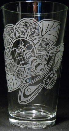 Totemic Dragonfly by Kristin Koiv on 16 oz. glass