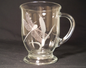 Custom Orders-Dragonfly & Cattail Rounded Clear Mug